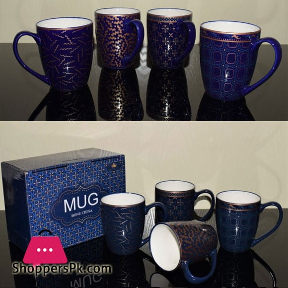 Imperial Gold Blue Bone China Mug Set of 6 - MP01