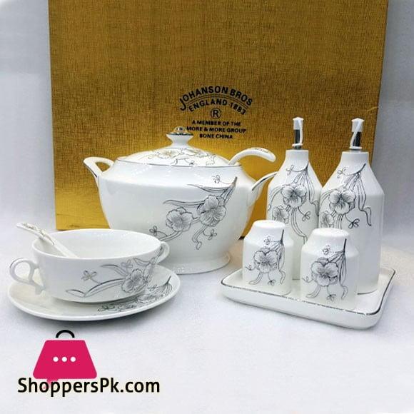 Johanson Bros England 26 Pcs Soup Set Bone China Round Silver & Gold