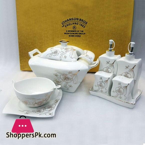 Johanson Bros England 26 Pcs Soup Set Bone China Square Silver & Gold