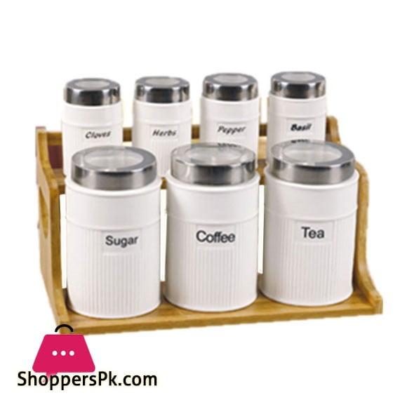 Solecasa 7 Pcs Jar Set With Wood Stand