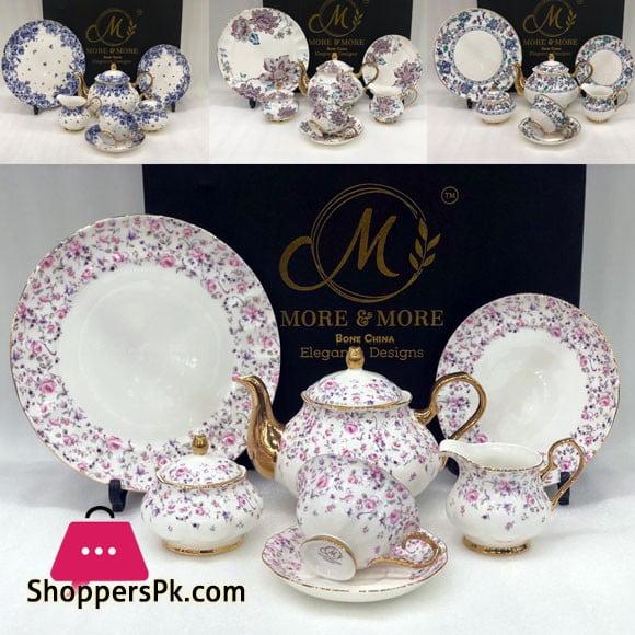 Vintage 24 Pieces Tea Set Full Gold Design Bone China 669-1