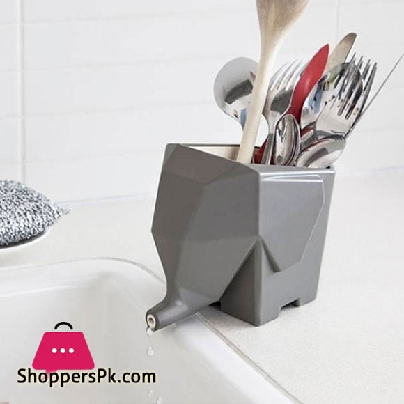 Elephant Cutlery Holder Drains Excess Water Uniquely