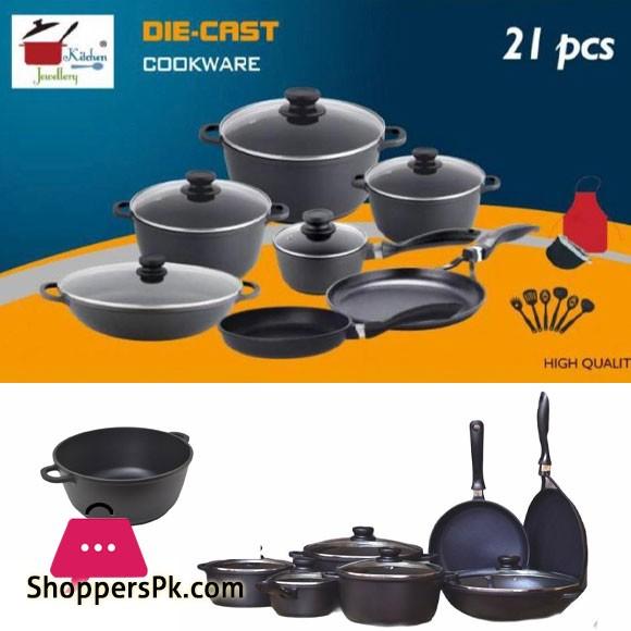 Kitchen Jewellery Die-Cast Cookware 21 Pcs Set