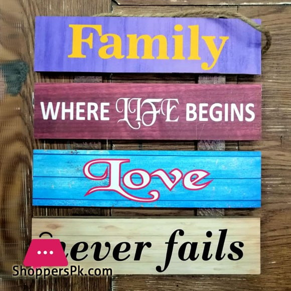 Wooden Wall Hanging Board Plaque Sign (Family Where Life Begins Love Never Fails) 8 x 8 Inch