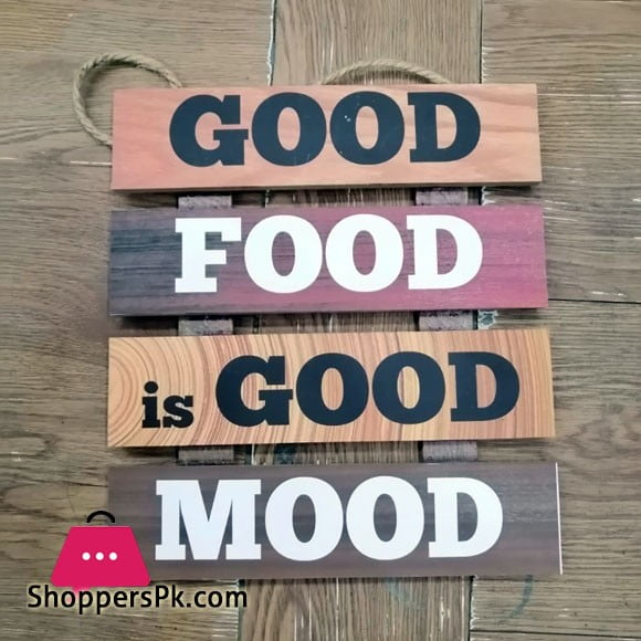 Wooden Wall Hanging Board Plaque Sign (Good Food is Good Mood ) 8 x 8 Inch