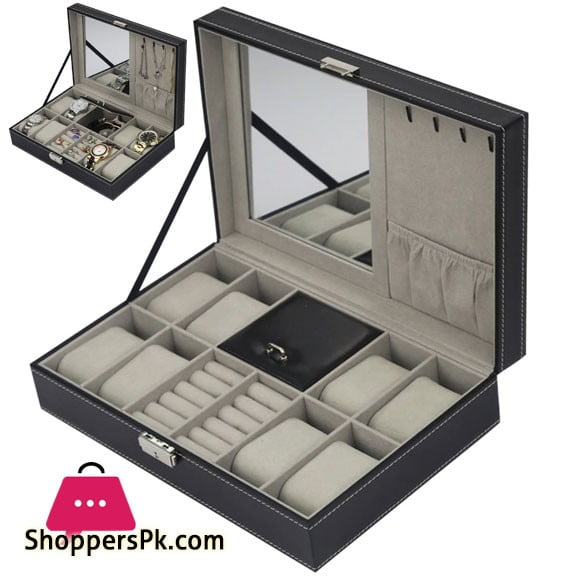 2 In 1 8 Watch Box Grids + 3 Mixed Grids PU Leather Watch Case Organizer Box Luxury Jewelry Ring Display Watch Boxes