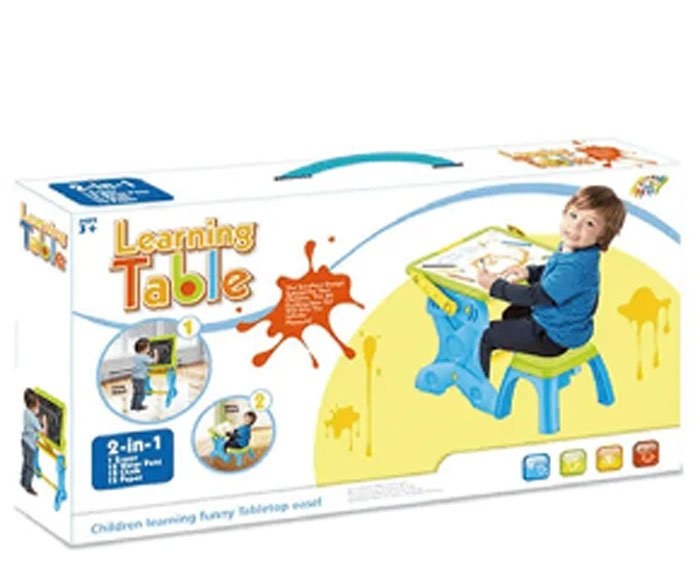 2 in 1 kids learning table plastic children painting board stand HC401351