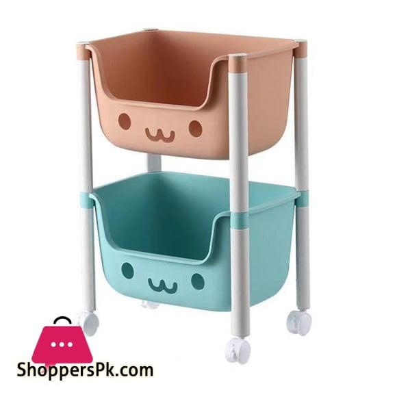 2 layers Kids Toy Organizer Baskets with Wheels Large Kids Toys Chest Storage Bins