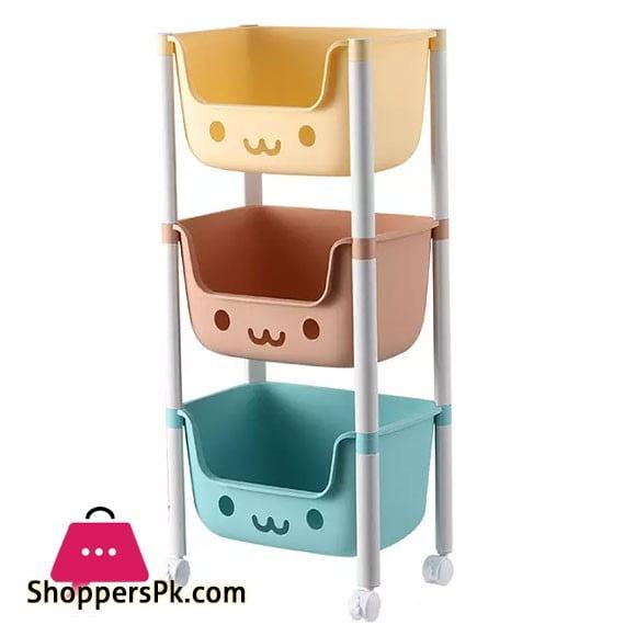 3 layers Kids Toy Organizer Baskets with Wheels Large Kids Toys Chest Storage Bins