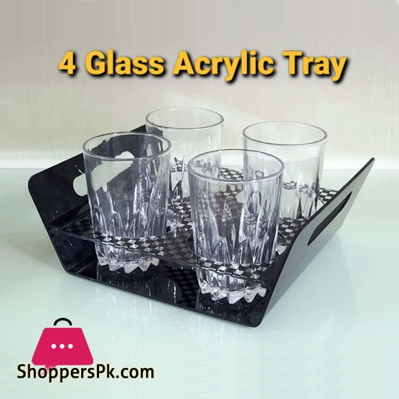 Acrylic Serving Tray 4 Glass Hold