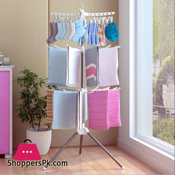 Baby Clothes Rack Floor Folding Diaper Rack Towel Drying Rack Baby Clothes Rack Three Layers 48 Clips 16 Poles