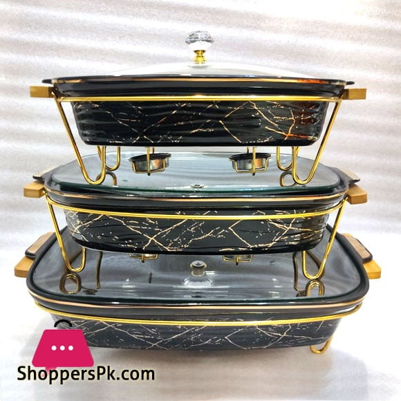 Ceramic Marble Texture Rectangular Serving Dish with Glass Lid and Gold Plated Stainless Steel Stand with Tealight Candle Holder Modern Italian Design