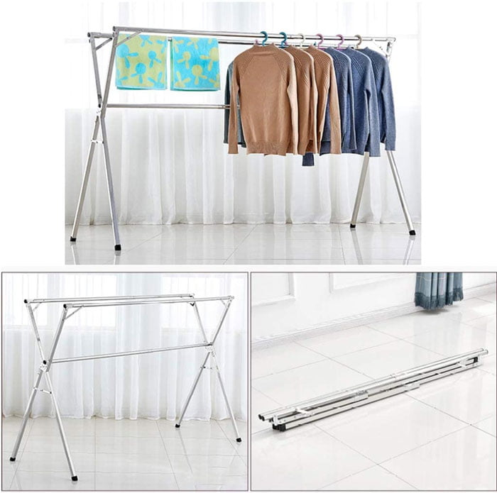 Clothes Airer Folding Retractable Drying Racks Indoor and Outdoor Stainless Steel Balcony Expandable Clothes Airer (3 Rail)