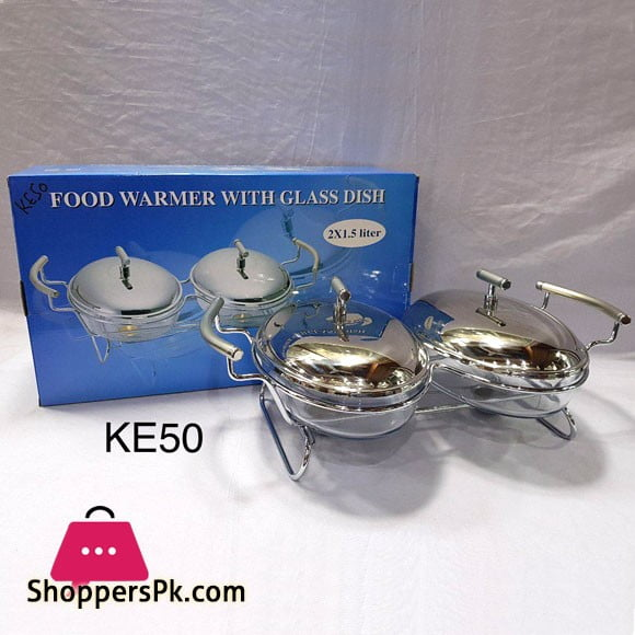 Food Warmer With Glass Dish 2 x 1.5 Liter KE50