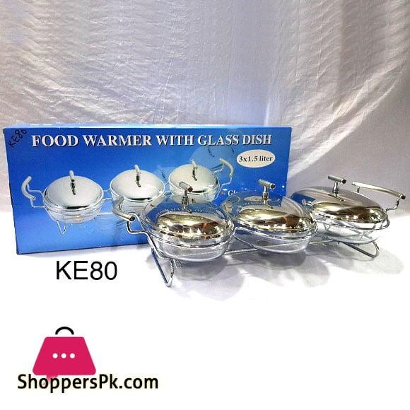 Food Warmer with Glass Dish 3 x 1.5 Liter KE80