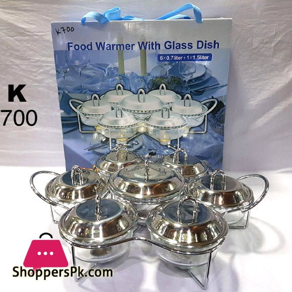 Food Warmer with Glass Dish 6 x 0.7 +1 x 1.5 Liter K700