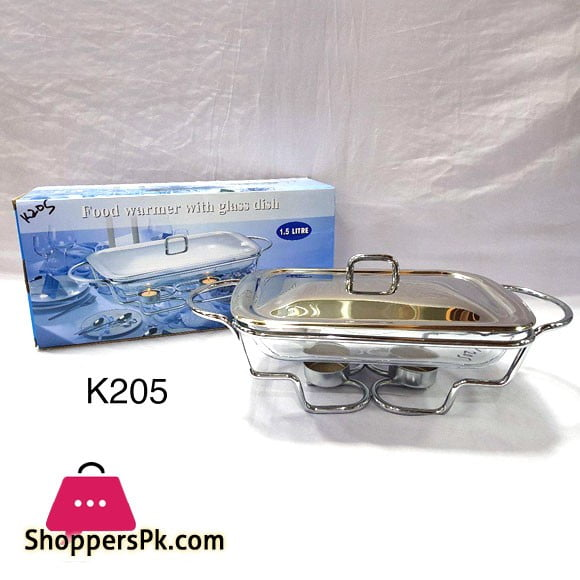 Food Warmer with Glass Dish Rectangular 1.5 Liter K205