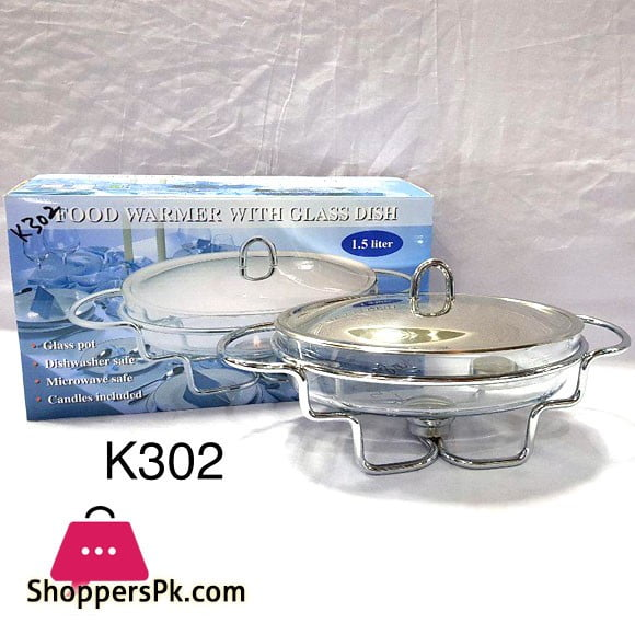 Food Warmer with Glass Oval Dish 1.5 Liter K302