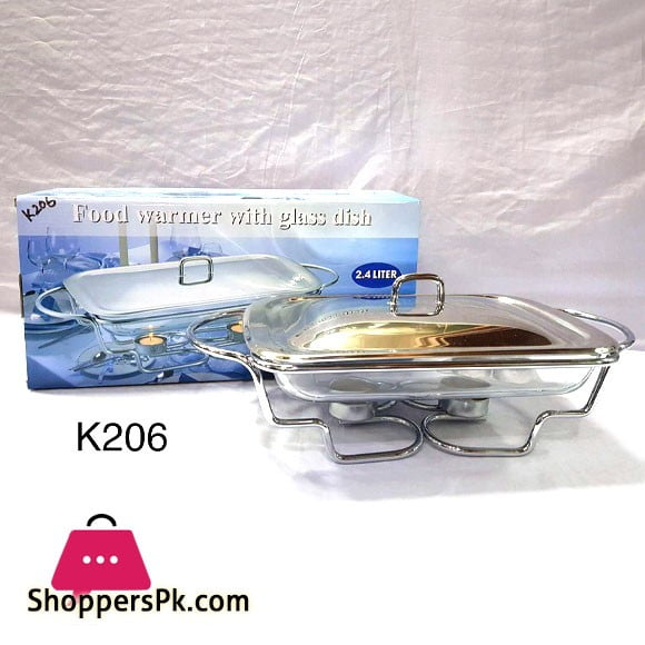 Food Warmer with Glass Dish Rectangular 2.4 Liter K206