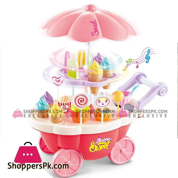 Ice Cream Play Cart Kitchen Set Toy with Lights and Music