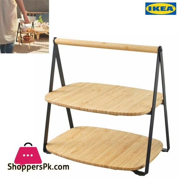 Ikea FULLSPACKAD Serving Tray 2-Level Snacks/Appetizers Bamboo, Black Steel NEW