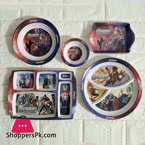 Kids Melamine Plastic Dinner Set 5 Pcs (Avengers)