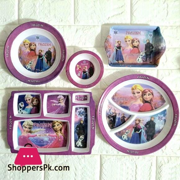 Kids Melamine Plastic Dinner Set 5 Pcs ( Frozen )