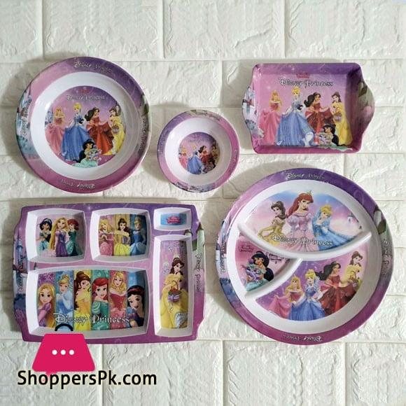 Kids Melamine Plastic Dinner Set 5 Pcs ( Princess )