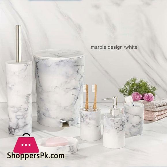Limon 6 Pieces Marble Design Bathroom Accessories Set