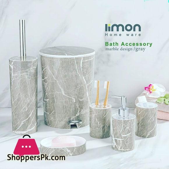 Limon 6 Pieces Marble Design Bathroom Accessories Set Gray