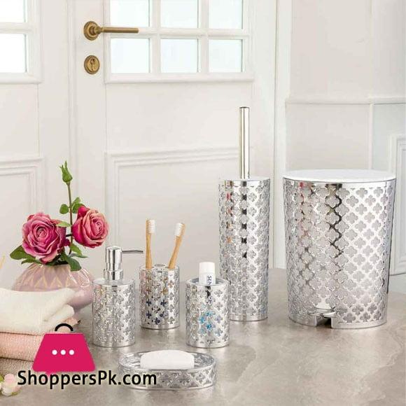 Limon 6 Pieces Bathroom Accessories Set Silver