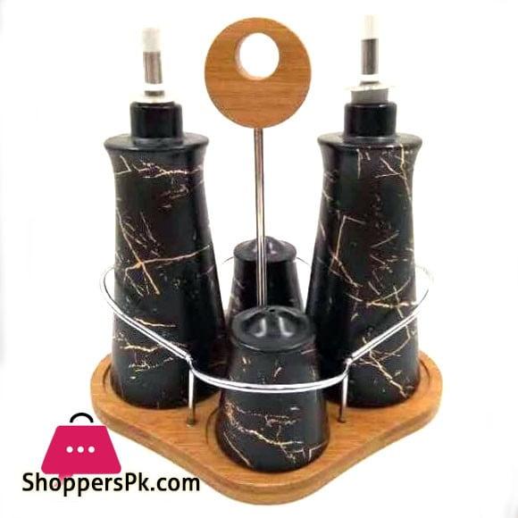 Marble Texture Salt & Pepper Shaker Set 4 Pcs Sauce Set