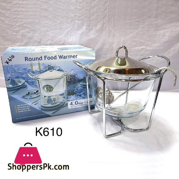 Round Food Warmer 4 Liter with Ladle Glass Casserole with Candle Warmer K610
