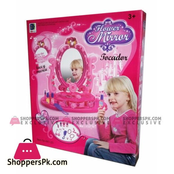 Set of Light & Music Vanity Mirror With Accessories Girls Toy Gift