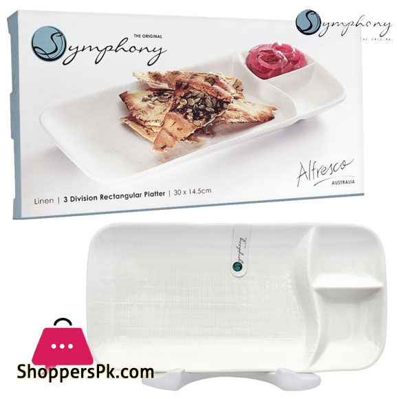 Symphony Linen 3 Division Rectangular Platter 11.8 x 5.7 Inches #SY7413