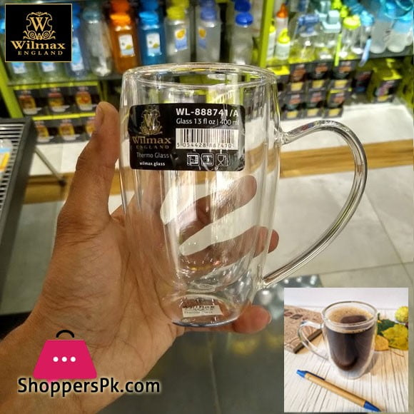 WILMAX THERMO GLASS Double Wall Cup 400 ML ONE-Piece
