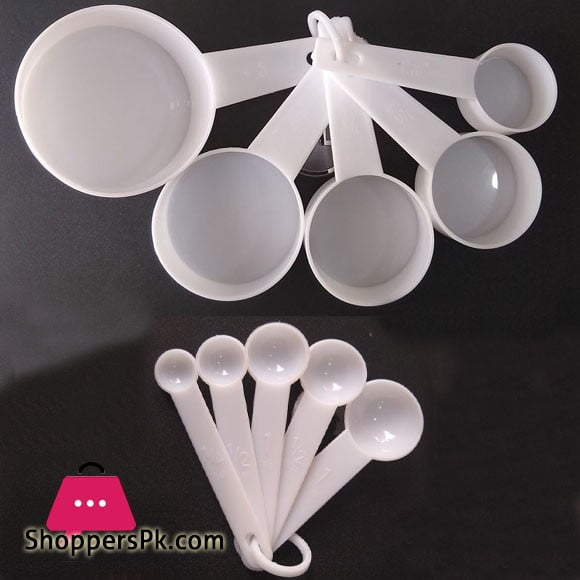 White Plastic Measuring Cup & Spoon 10 Pcs Set