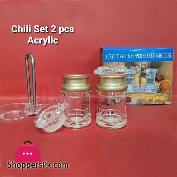 Acrylic Salt & Pepper Shaker With Holder