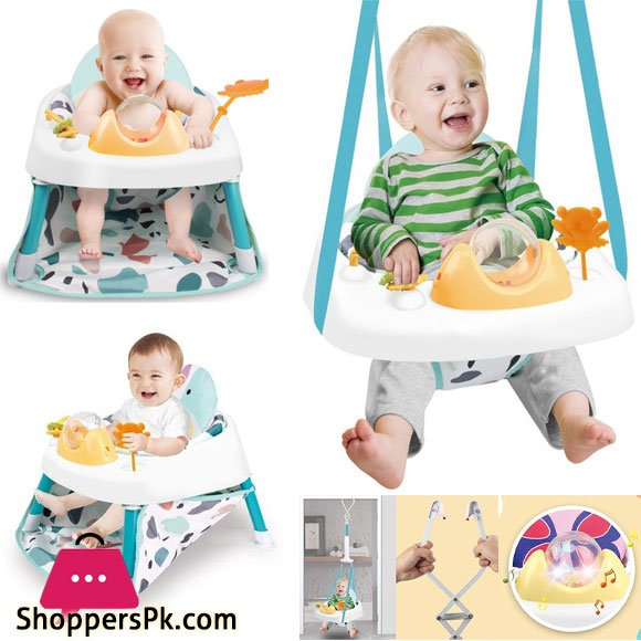 2-in-1 Infant Toddler Jumper Learn Sitting Swing Bounce Baby Fitness Jump Chair (Multicolour)