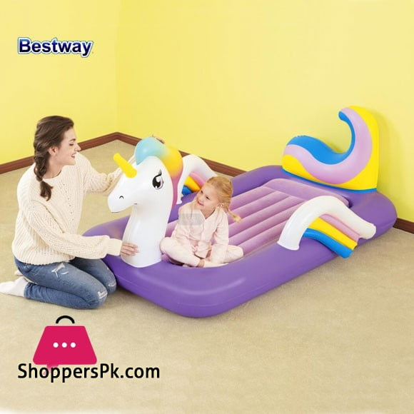 Bestway Airbed Inflatable Unicorn Dreamchaser Comfort Air Mattress With Backrest For Kids Furniture - 67713
