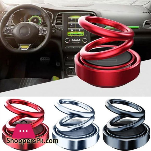 Car Solar Powered Rotating Air Freshner Double Ring 360 Degree Rotating Suspension Aromatherapy