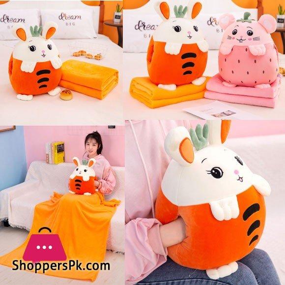 Cartoon Fruit Plush Pillow & Blanket Set