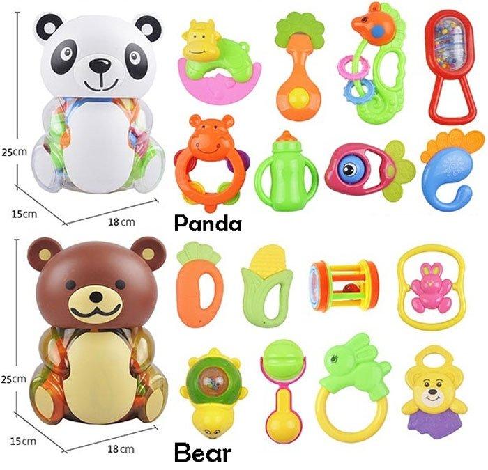 Cute Panda Rattle Set 8 Pcs Box Cum Piggy Bank