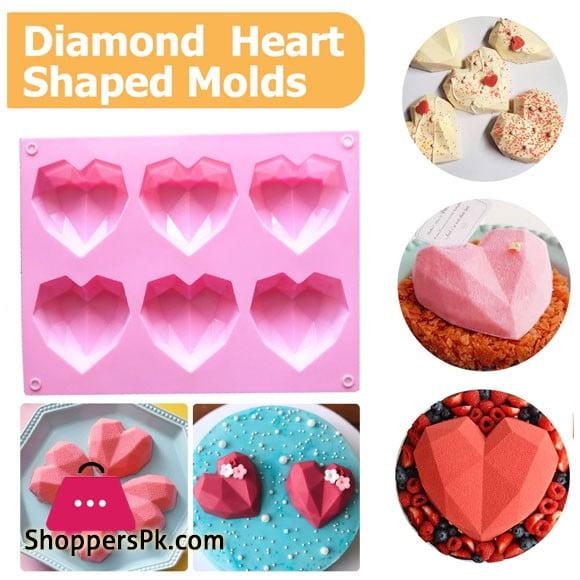Diamond 3d Heart Shape Silicone Mold 6 Cavity