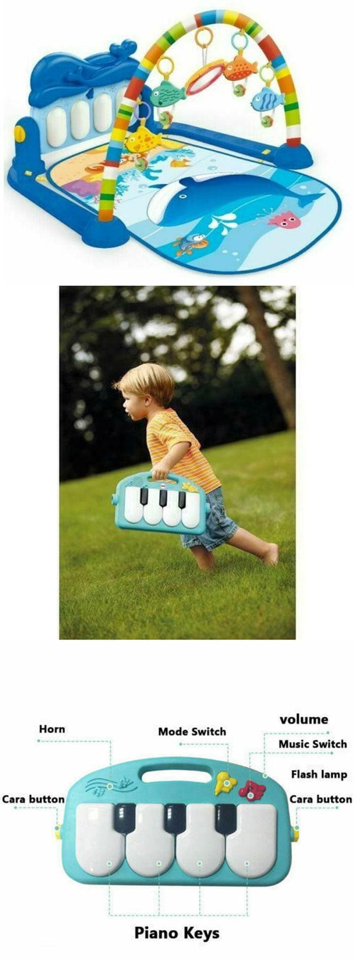 Huanger Playmat Kick 'n' Play Newborn Baby Playmat, Play Gym, Musical Activity Gym 0-36 Month