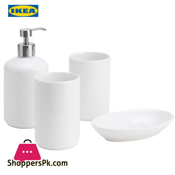Ikea BOASJO 4 Piece Bathroom Set White