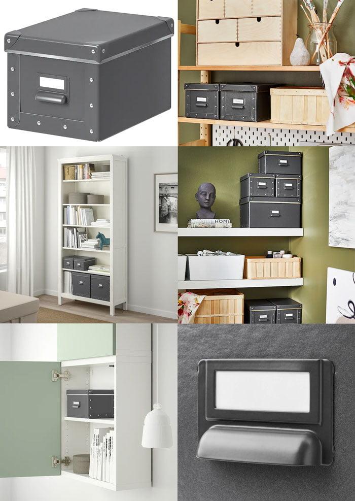 Ikea FJALLA Storage Box With Lid, Dark Grey 18x26x15 cm
