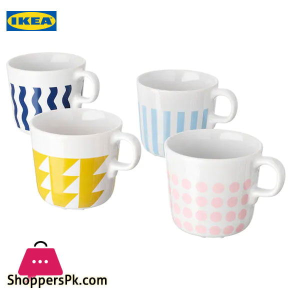 Ikea FRAMKALLA Mug Mixed Patterns 21 cl Pack of 4