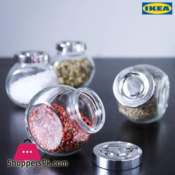 Ikea RAJTAN Spice Jar Glass Aluminum Color 5 oz (Pack of 4)