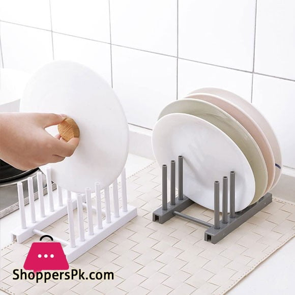 Kitchen Dish Plate Pot Cover Drying Drain Holder Plastic Storage Rack Shelf